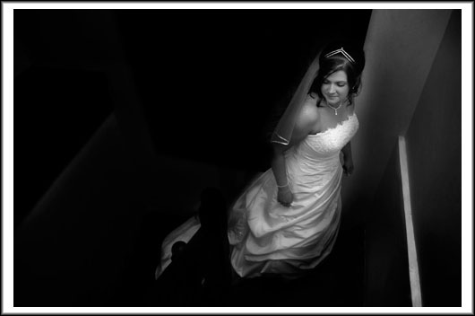 Bride in wedding dress black and white